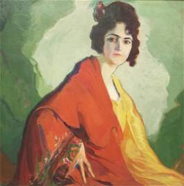 Signed Alex (Alexander) O. Levy 1920 oil on canvas Lady