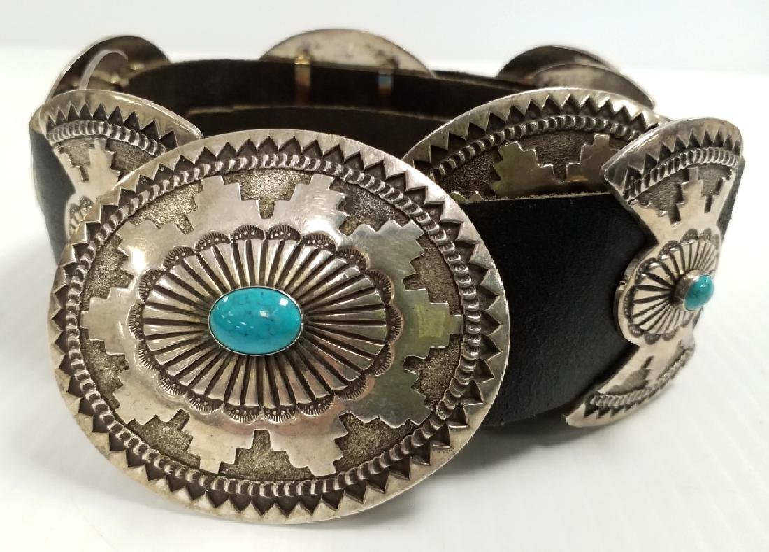 """Signed R. Martinez Navajo sterling & turquoise 48"""""""