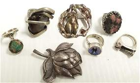 7 pieces designer sterling jewelry including New