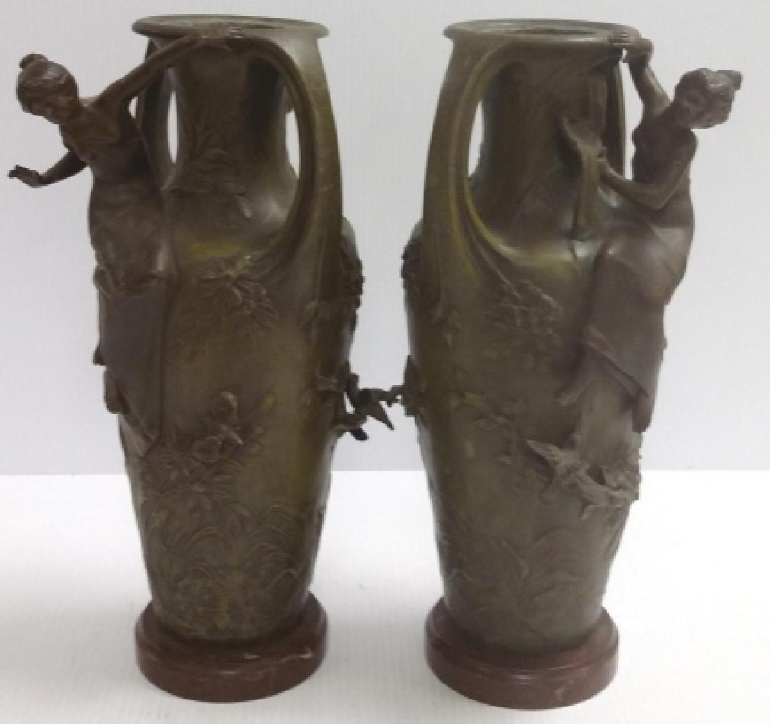 2 signed Francois Moreau? bronze art nouveau vases with