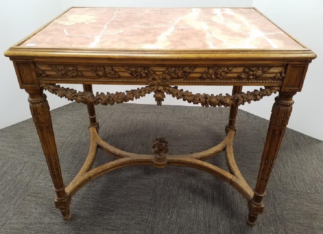 Antique Louis XVI style carved wood marble top side