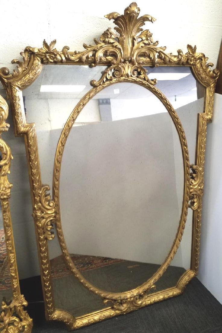 """Antique Italian gilt wood oval mirror 43"""" x 64"""" From"""