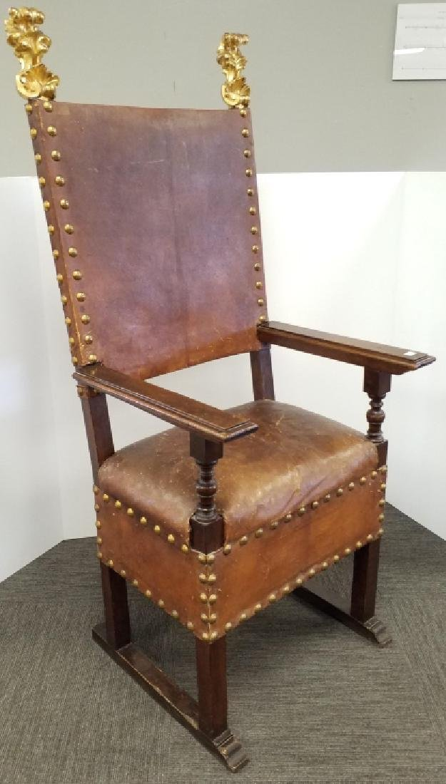 17th C. style leather upholstered high back chair From