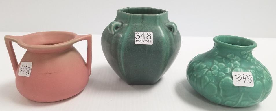 3 Rookwood pottery vases- dated 1935, 1929, 1923- 4