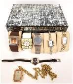 Group of womens wristwatches in jewelry box incl