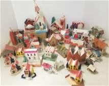 Group of vintage Japan paper Christmas buildings 7