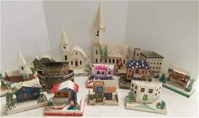 13 pieces of vintage Japan paper Christmas houses etc
