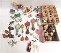 Group of assorted vintage etc glass  paper ornaments