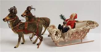 """Antique German Santa with sleigh & 2 reindeer 27"""""""