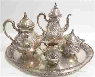 5 pieces ornate hand chased 800 silver tea set with