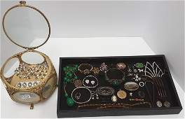 Group of antique jewelry including jewelry casket