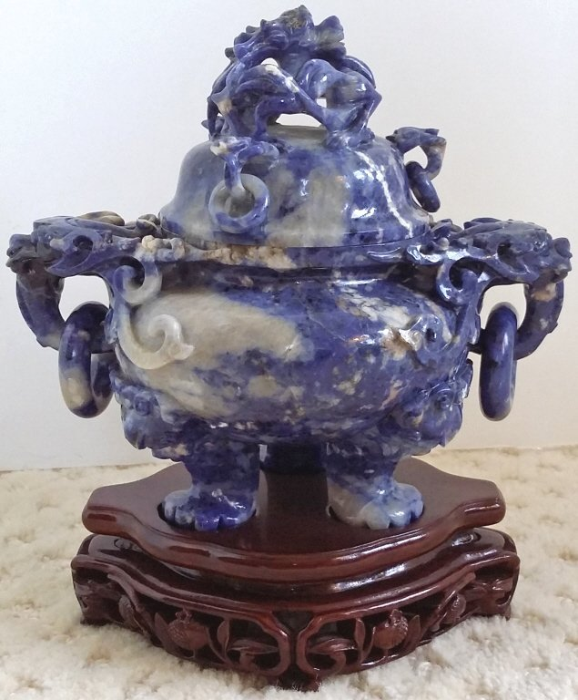 """8"""" carved lapis carved covered urn with stand - 4"""