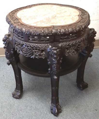 "24"" antique carved Chinese stand with marble inset"