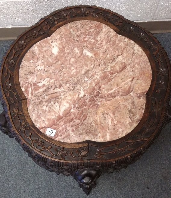 "24"" antique carved Chinese stand with marble inset - 2"