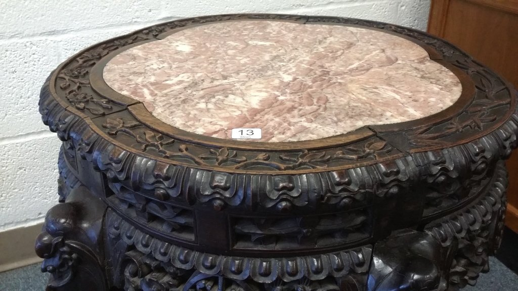 "24"" antique carved Chinese stand with marble inset - 3"