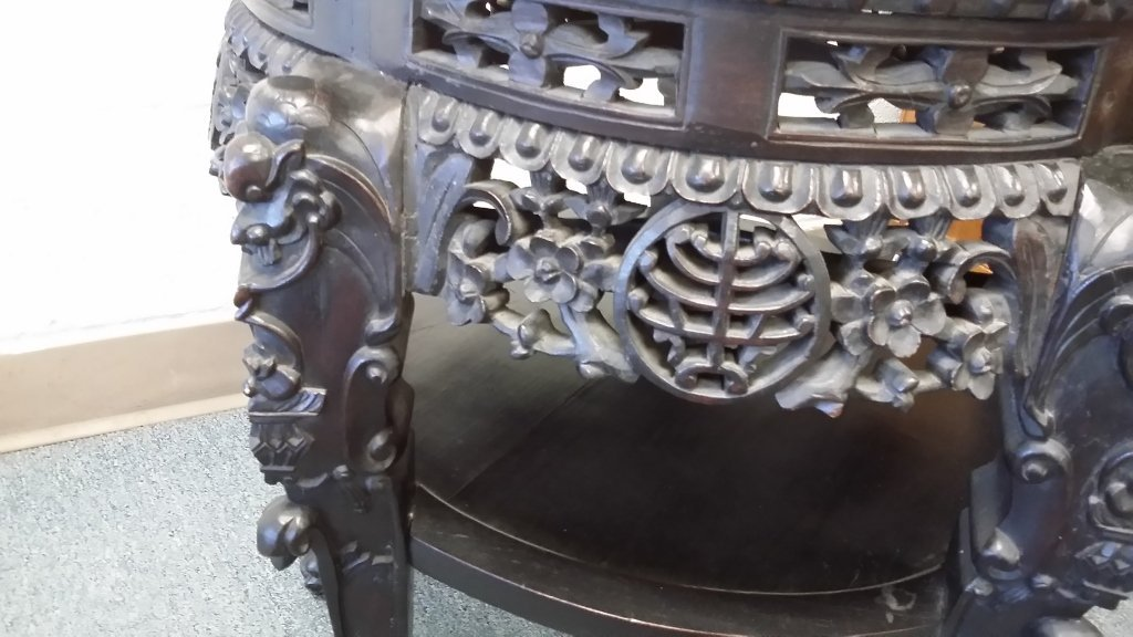 "24"" antique carved Chinese stand with marble inset - 4"