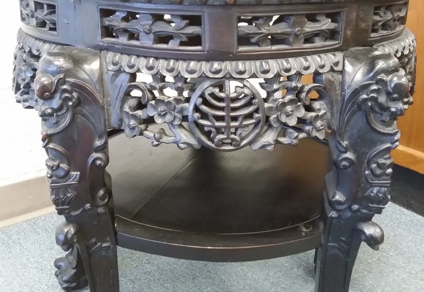 "24"" antique carved Chinese stand with marble inset - 6"
