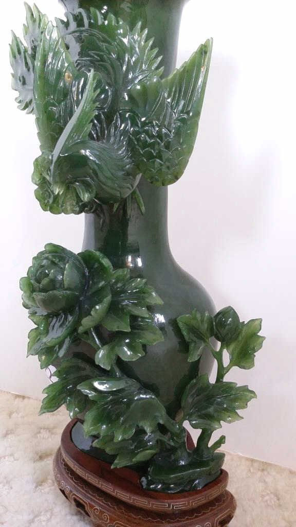 "10"" carved jade vase with bird design on stand - 2"