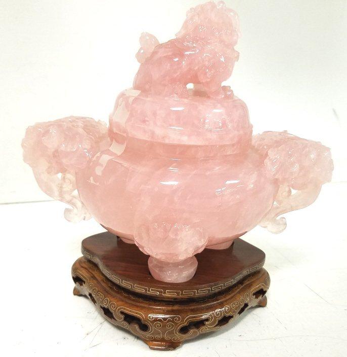"""7"""" carved rose quartz urn on stand - 3"""