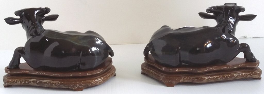 """2- 5"""" carved blue tiger eye water buffalo on stands (1 - 3"""
