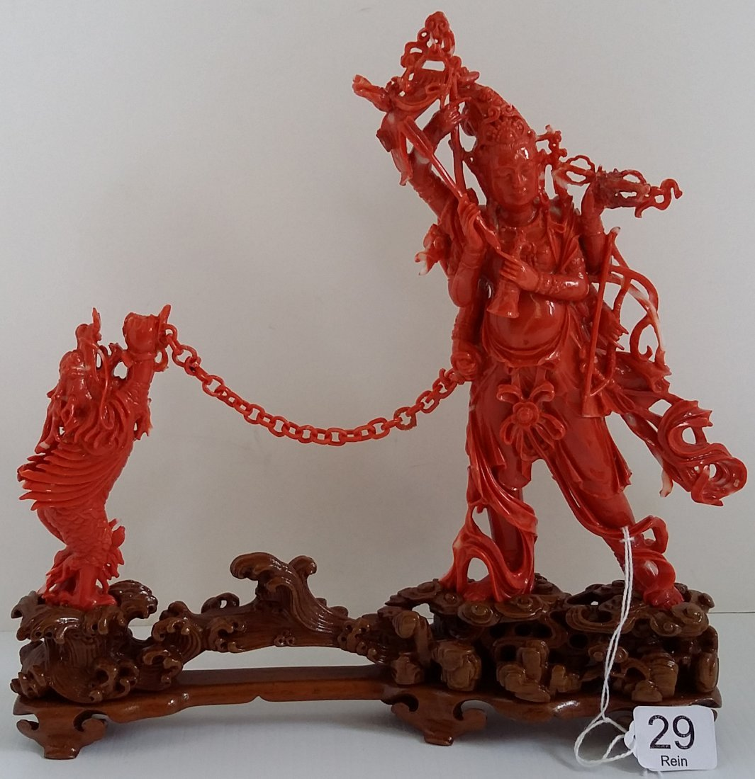 """9"""" tall carved coral group on stand (as seen)"""
