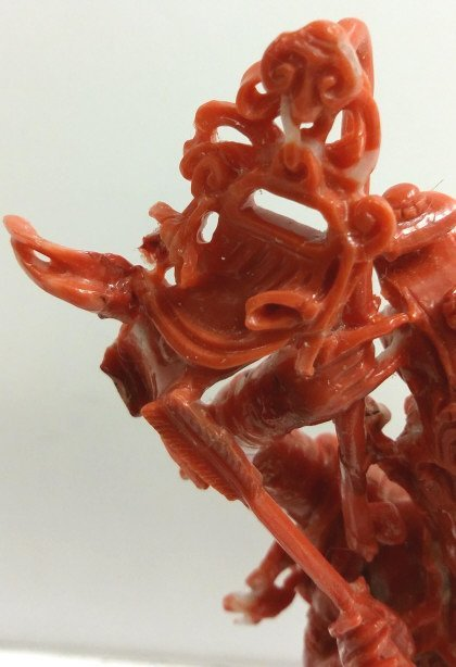 """9"""" tall carved coral group on stand (as seen) - 2"""