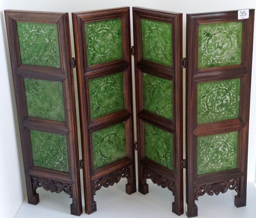 """4-panel carved spinach jade table screen- 19""""x 24"""""""