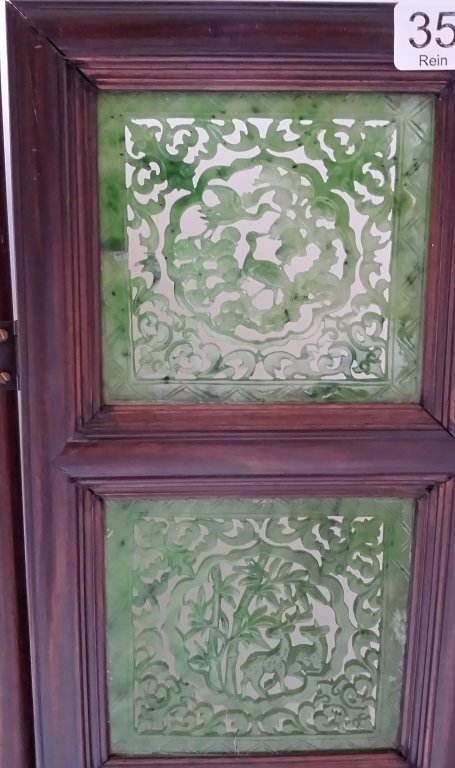 """4-panel carved spinach jade table screen- 19""""x 24"""" - 2"""