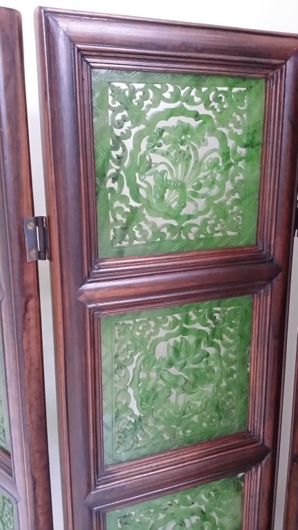 """4-panel carved spinach jade table screen- 19""""x 24"""" - 3"""