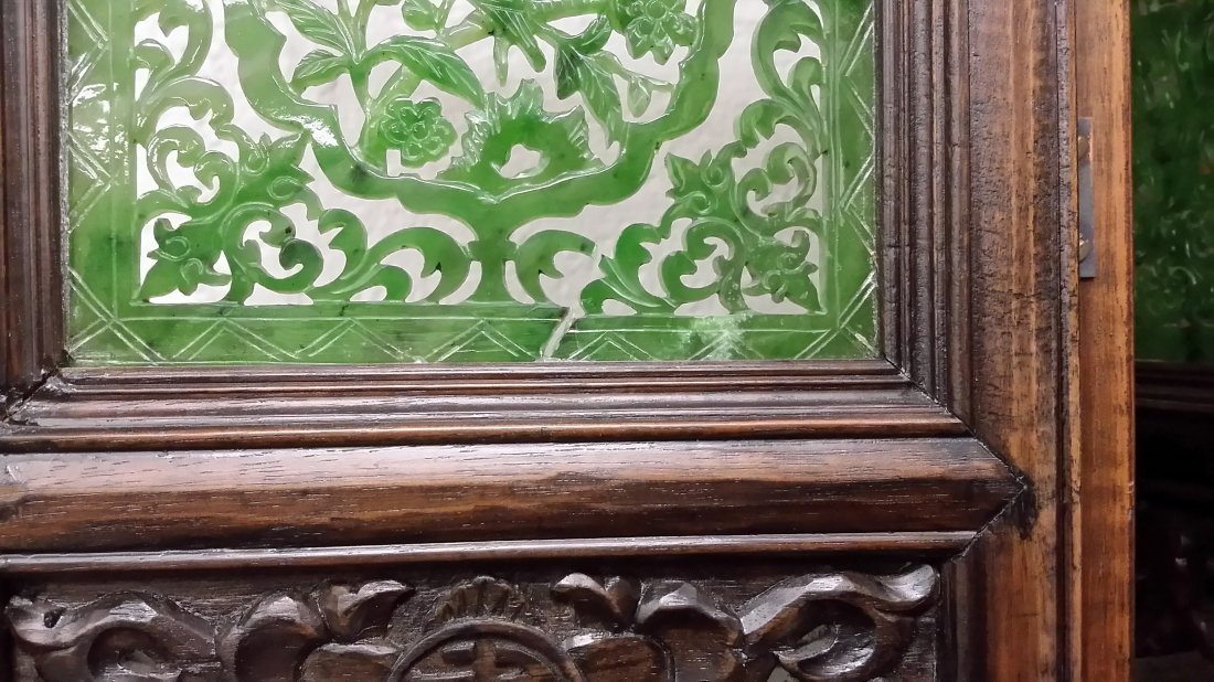 """4-panel carved spinach jade table screen- 19""""x 24"""" - 4"""