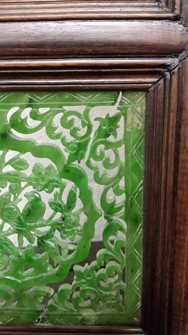 """4-panel carved spinach jade table screen- 19""""x 24"""" - 5"""