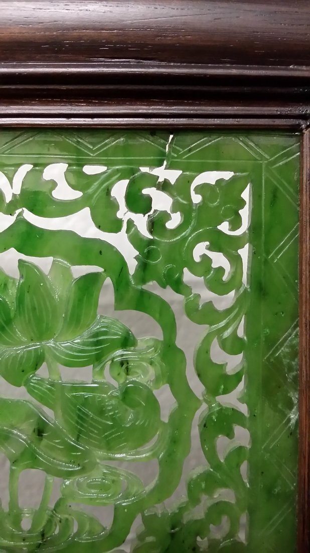 """4-panel carved spinach jade table screen- 19""""x 24"""" - 6"""