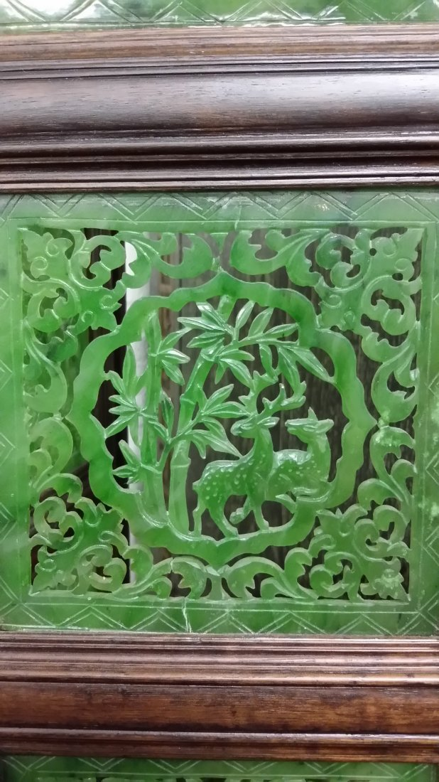 """4-panel carved spinach jade table screen- 19""""x 24"""" - 7"""