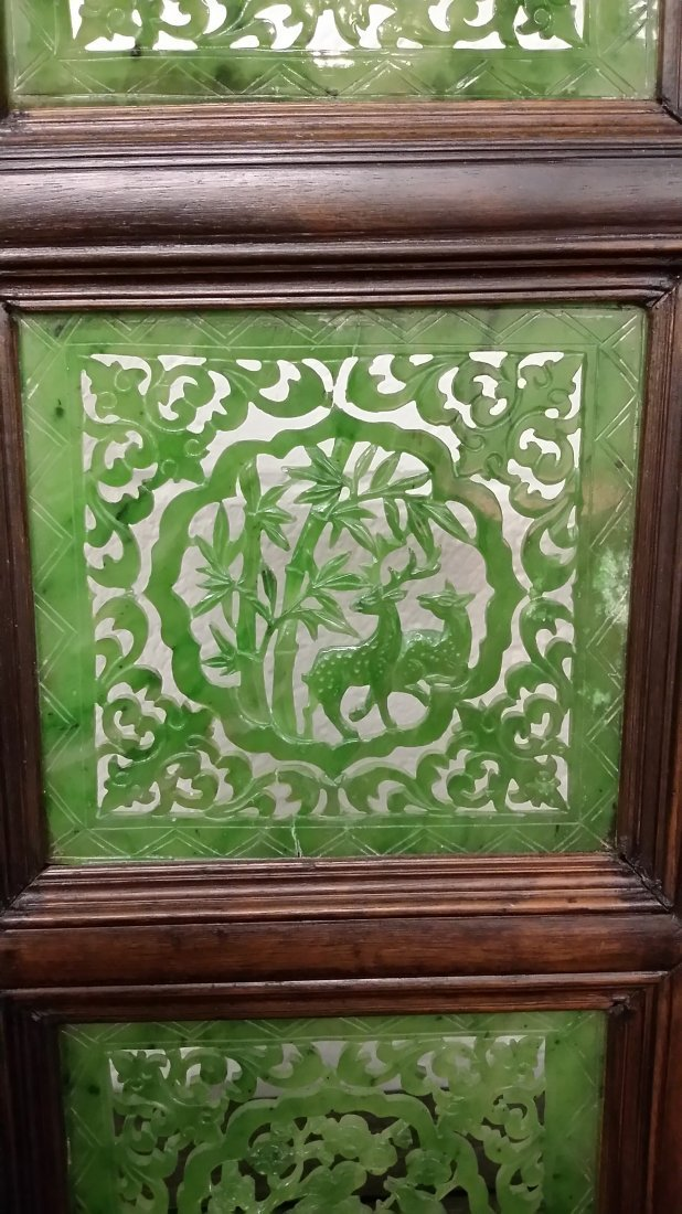 """4-panel carved spinach jade table screen- 19""""x 24"""" - 8"""