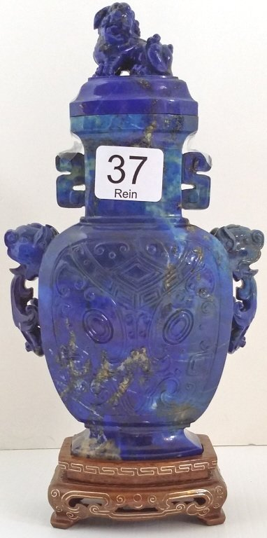 "7"" carved lapis urn on wood base- Foo lion finial"