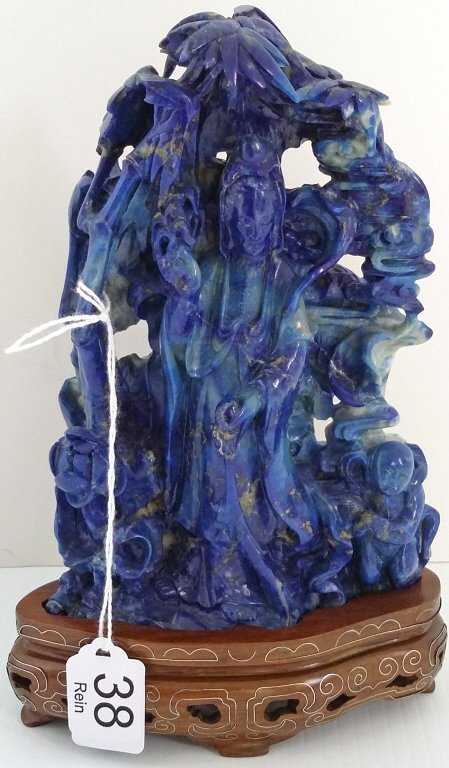 """6 1/2"""" carved lapis figure of Quan Yin on stand"""