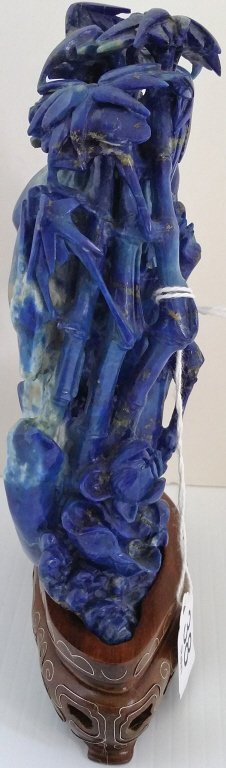 """6 1/2"""" carved lapis figure of Quan Yin on stand - 2"""
