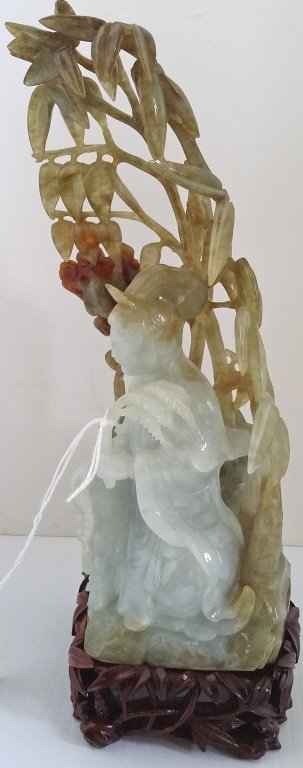 """8"""" carved tricolor jade deity on stand - 2"""