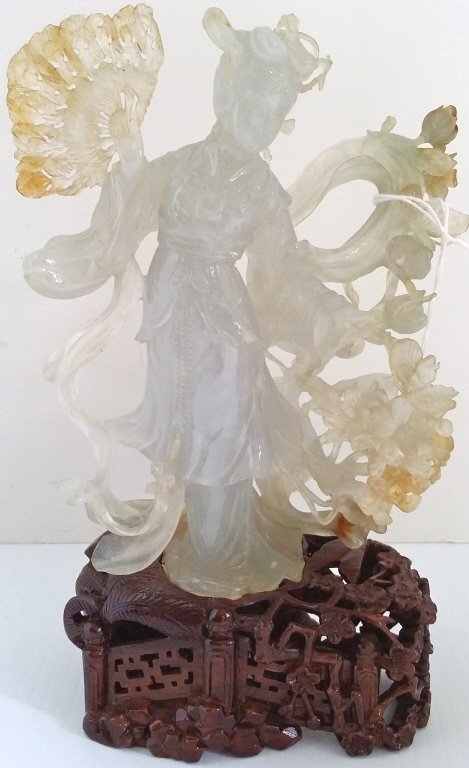 "6"" carved bicolor jade figure on 2"" stand"
