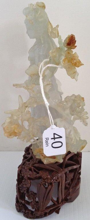 "6"" carved bicolor jade figure on 2"" stand - 2"