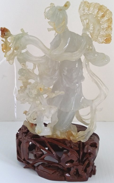"6"" carved bicolor jade figure on 2"" stand - 3"