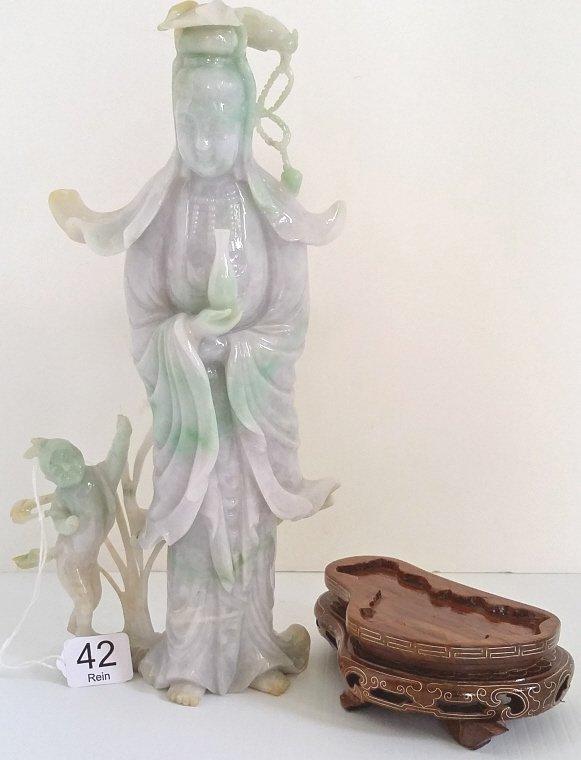 """9 1/2"""" carved green & lavender jade figural group on"""