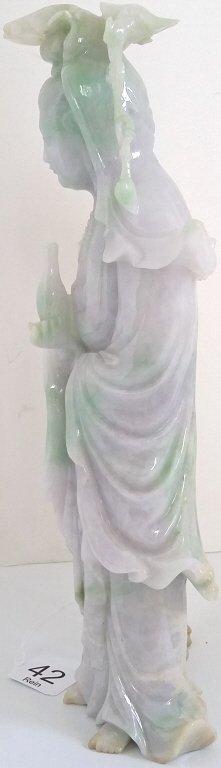 """9 1/2"""" carved green & lavender jade figural group on - 4"""