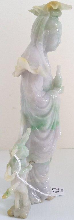 """9 1/2"""" carved green & lavender jade figural group on - 6"""