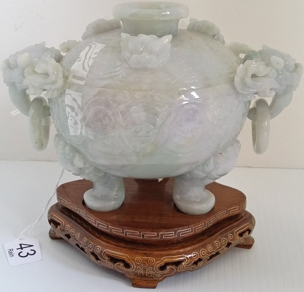 "7"" carved jade covered box on stand - 3"