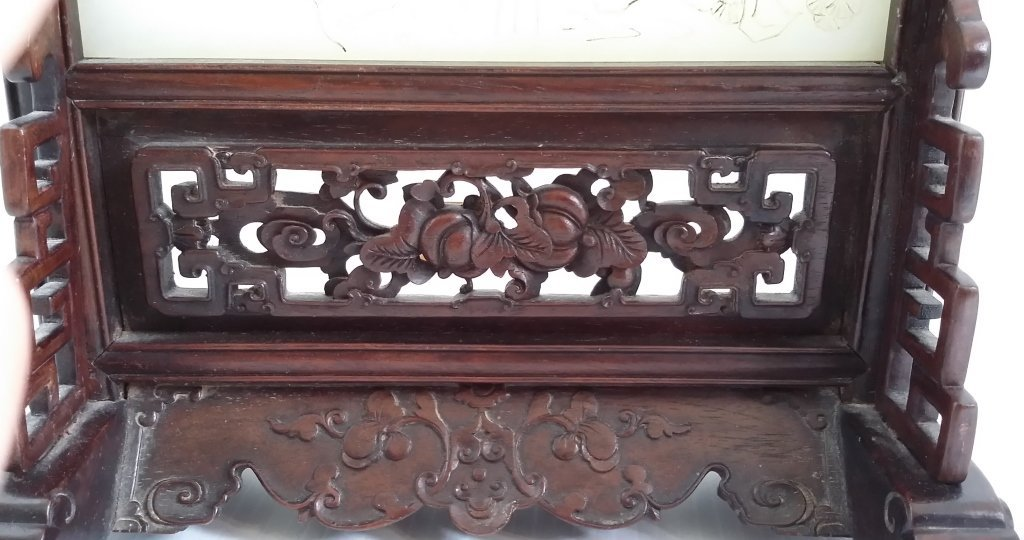 """8""""x 12"""" etched jade table screen with wood stand - 3"""