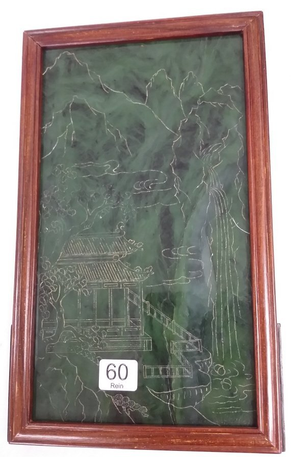 "9""x 15"" carved jade table screen with wood stand - 2"