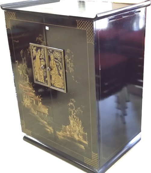 Black lacquer Oriental decorated TV cabinet