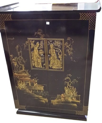 Black lacquer Oriental decorated TV cabinet - 2