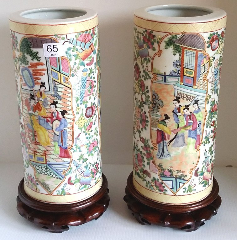 """2- 11"""" Rose medallion brush pot vases on stands"""